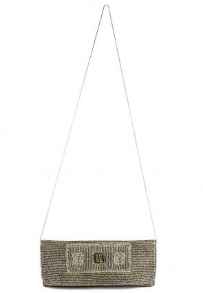 Hand Embroidered Cotton Flap Clutch in Golden