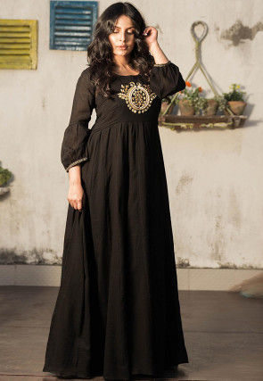 Hand Embroidered Cotton Flared Gown in Black