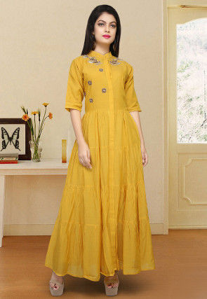 Hand Embroidered Cotton Flared Kurta in Mustard