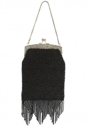 Hand Embroidered Cotton Hand Crafted Batua Clutch in Black