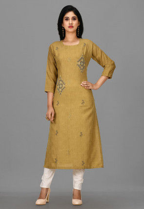 Hand Embroidered Cotton Jacquard Pakistani Suit in Olive Green