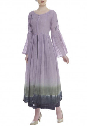 Hand Embroidered Cotton Kurta Palazzo Set in Lilac