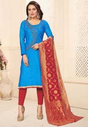 Hand Embroidered Cotton Pakistani Suit in Blue