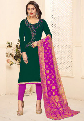 Hand Embroidered Cotton Pakistani Suit in Dark Green
