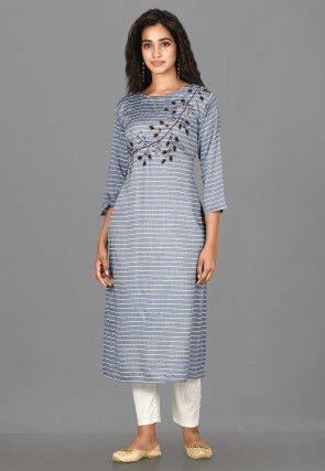Hand Embroidered Cotton Pakistani Suit in Grey