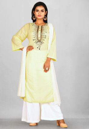 Hand Embroidered Cotton Pakistani Suit in Light Yellow