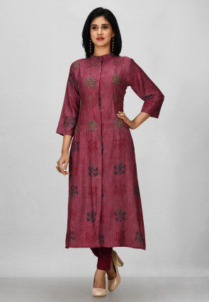 Hand Embroidered Cotton Pakistani Suit in Magenta