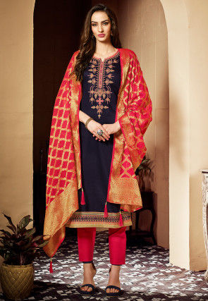 Hand Embroidered Cotton Pakistani Suit in Navy Blue