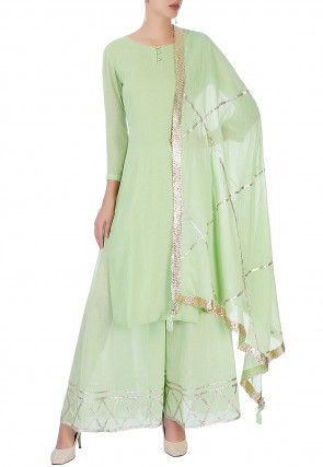 Embroidered Cotton Pakistani Suit in Pastel Green