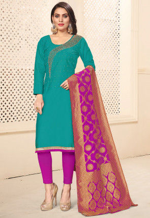 Hand Embroidered Cotton Pakistani Suit in Teal Blue