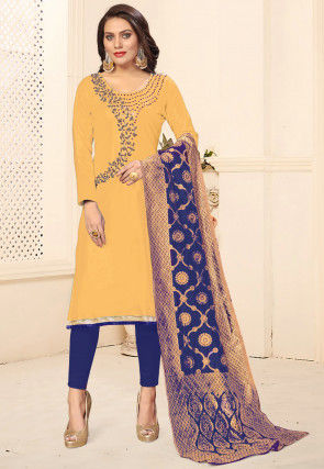 Hand Embroidered Cotton Pakistani Suit in Yellow