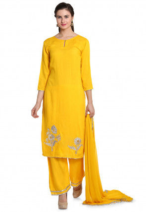 Hand Embroidered Rayon Pakistani Suit in Yellow