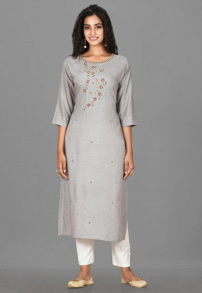 Hand Embroidered Cotton Rayon Pakistani Suit in Light Grey