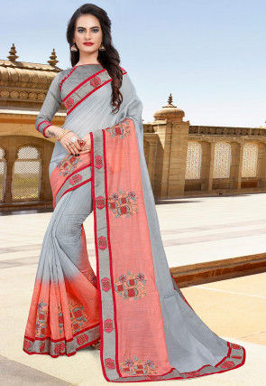 Hand Embroidered Cotton Saree in Grey