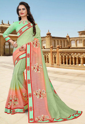 Hand Embroidered Cotton Saree in Pastel Green