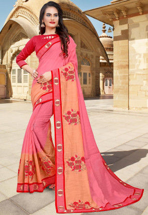 Hand Embroidered Cotton Saree in Pink