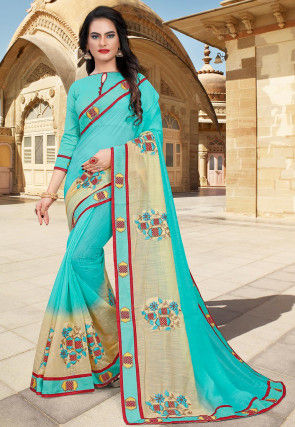 Hand Embroidered Cotton Saree in Turquoise