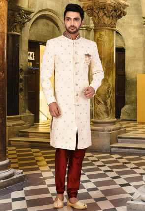 Hand Embroidered Cotton Sherwani in Off White
