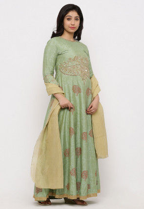 Hand Embroidered Cotton Silk Abaya Style Suit in Pastel Green