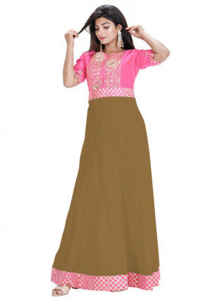Hand Embroidered Cotton Silk Anarkali Kurta Set in Beige