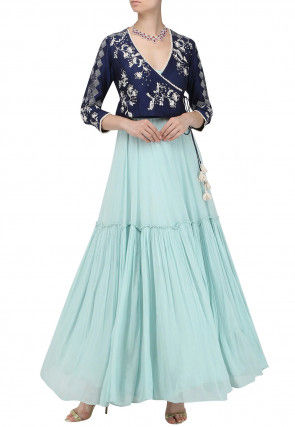 Hand Embroidered Georgette Jacket Style Dress in Light Blue