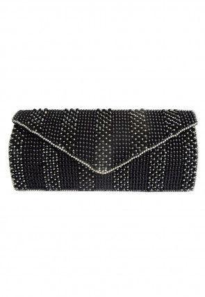 Hand Embroidered Cotton Silk Envelope Clutch Bag in Black