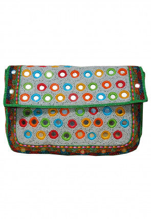 Hand Embroidered Cotton Silk Envelope Clutch Bag in Off White