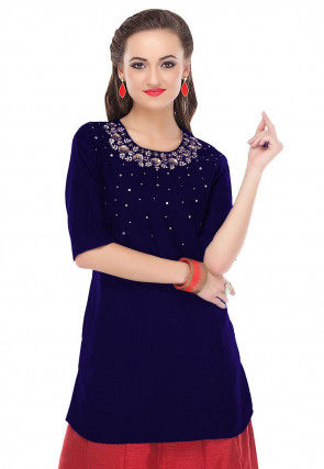 Hand Embroidered Cotton Silk Kurti in Dark Blue