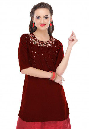 Hand Embroidered Cotton Silk Kurti in Maroon