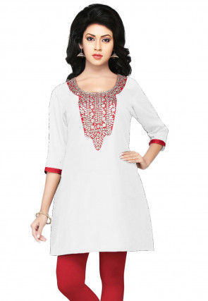 Hand Embroidered Cotton Silk Kurti in Off White