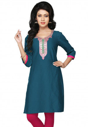 Hand Embroidered Cotton Silk Kurti in Teal Blue