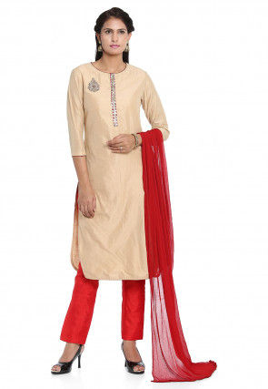 Hand Embroidered Cotton Silk Pakistani Suit in Beige