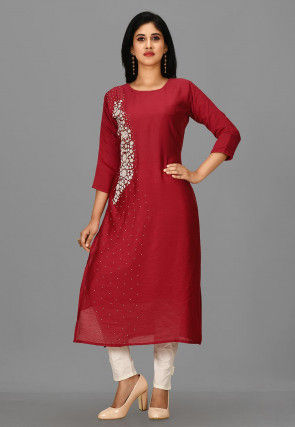 Hand Embroidered Cotton Silk Pakistani Suit in Red