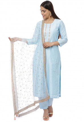 Hand Embroidered Cotton Silk Pakistani Suit in Sky Blue