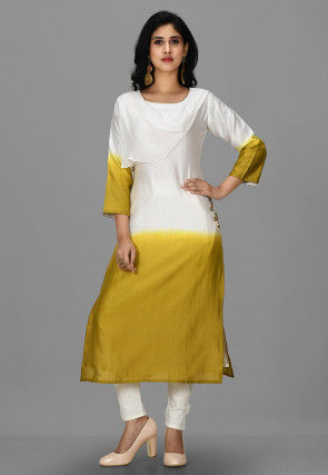 Hand Embroidered Cotton Silk Pakistani Suit in White and Green