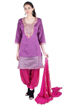 Hand Embroidered Cotton Silk Punjabi Suit in Purple