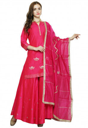 Hand Embroidered Cotton Silk Sharara Lehenga in Fuchsia