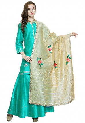 Hand Embroidered Cotton Silk Sharara Lehenga in Teal Green