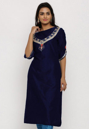 Hand Embroidered Cotton Silk Straight Kurta in Navy Blue