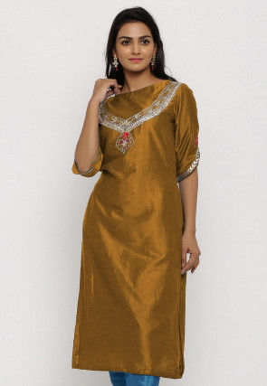 Hand Embroidered Cotton Silk Straight Kurta in Old Gold