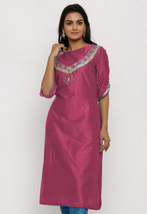 Hand Embroidered Cotton Silk Straight Kurta in Pink
