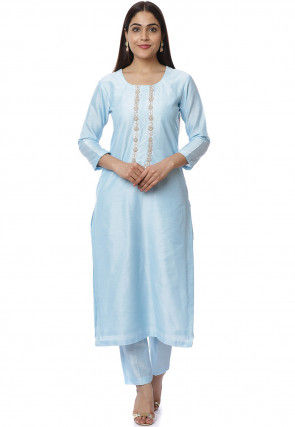 Hand Embroidered Cotton Silk Straight Kurta Set in Sky Blue