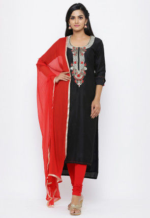 Hand Embroidered Cotton Silk Straight Suit in Black