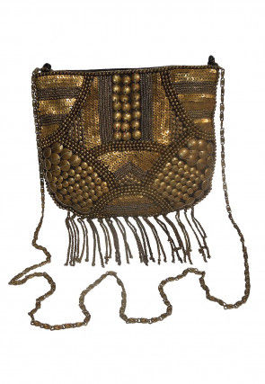 Hand Embroidered Cotton Sling Bag in Golden and Black