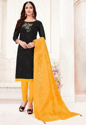 Hand Embroidered Cotton Slub Straight Suit in Black