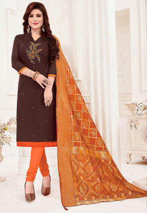 Hand Embroidered Cotton Slub Straight Suit in Dark Brown