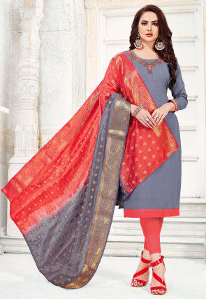 Hand Embroidered Cotton Slub Straight Suit in Grey