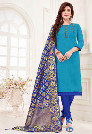 Hand Embroidered Cotton Slub Straight Suit in Light Blue