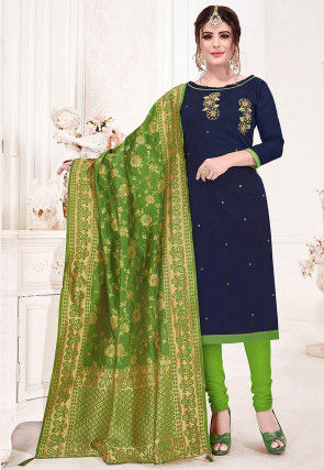 Hand Embroidered Cotton Slub Straight Suit in Navy Blue