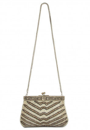 Hand Embroidered Cotton Vintage Batua Clutch in Beige